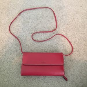 Lodis Red Leather Crossbody/Clutch
